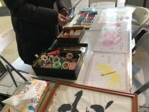 petapeta-art台紙とmtのマスキングテープで飾る手形アート