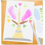 3月樹木手形足形アート無料台紙テンプレートダウンロード