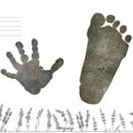 手形アート無料台紙テンプレートダウンロード|記念日に兄弟姉妹でラベンダーデザイン